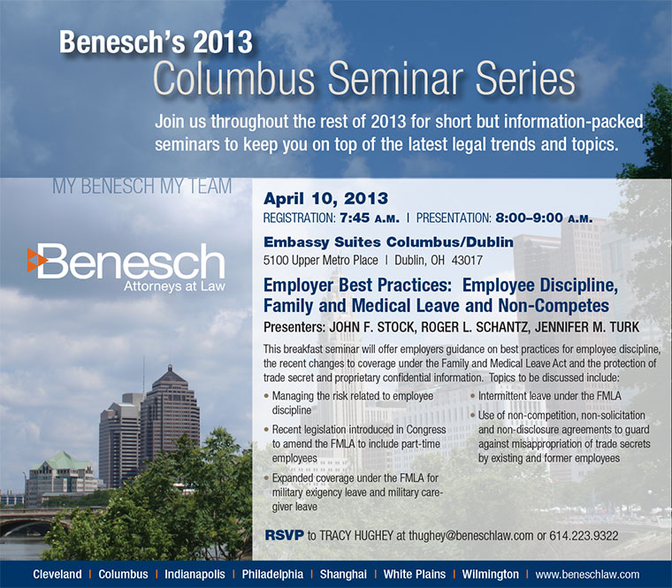 Employment Seminar in Columbus on April 10: Employer Best Practices - Employee Discipline, Family and Medical Leave and Non-Competes